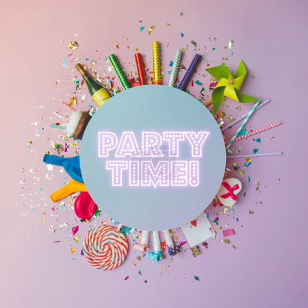 Photo for Colorful celebration background with party confetti and balloons with streamers and  fireworks on pink background, party time concept - Royalty Free Image