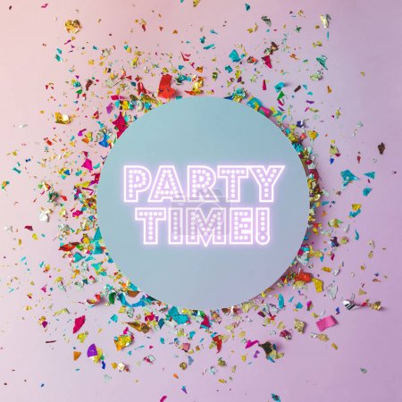 Photo for Grey circle with bright pink inscription Party time and colorful confetti on pink background - Royalty Free Image