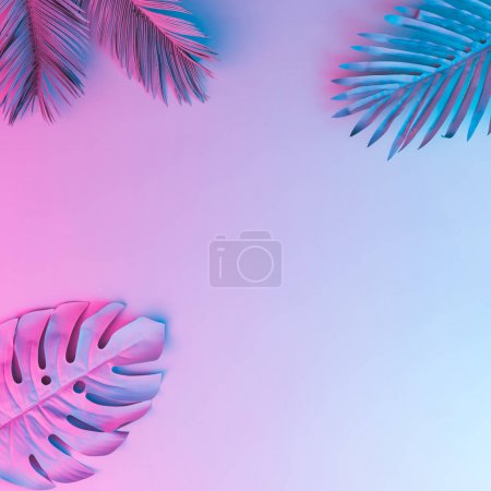 Photo for Tropical and palm leaves in vibrant bold gradient holographic neon colors, Concept art, Minimal surrealism - Royalty Free Image
