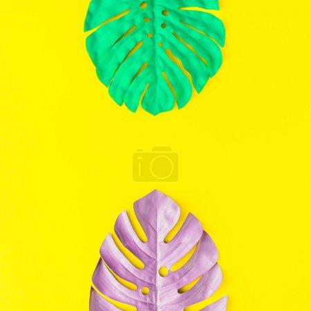 Foto de Pintadas tropicales y hojas de Palma en vibrantes colores atrevidos. Concepto de arte. Fondo colorido verano mínimo. - Imagen libre de derechos
