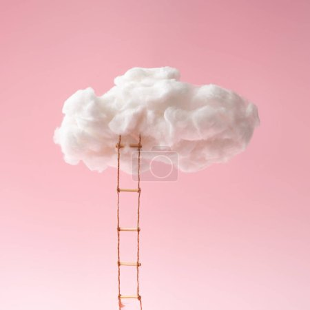Photo for Composition of step ladder leading to clouds on pink background, future and development concept - Royalty Free Image