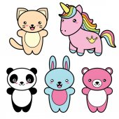 Set collection of cute kawaii style happy smiling animals