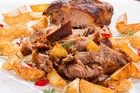fried Potato wedges and Big Piece of Pulled Pork