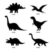 Dinosaurs silhouettes signs