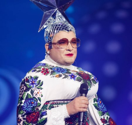 Photo pour KYIV, UKRAINE - MAY 12, 2017: Verka Serduchka of Ukraine at ESC (EUROVISION) Eurovision Song Contest 2017 during Final dress rehearsa - image libre de droit