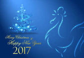 Great  Merry Christmas and Happy New Year 2017 greeting card.