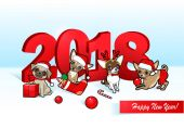 Christmas and new year 3d card with cute dogs Hand-drawn vector illustration Perfect for create greeting card invitation labels posters stickers or other your Christmas design