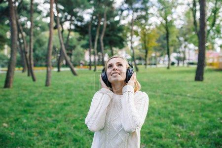 beautiful woman enjoying the music