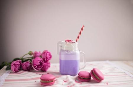 Purple coffee in stylized mason jar