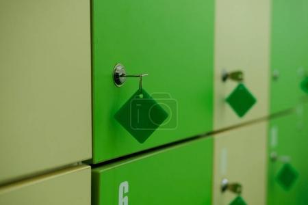 locker room in fitness club. gym locker. lock and green door. Close up. Mock up.