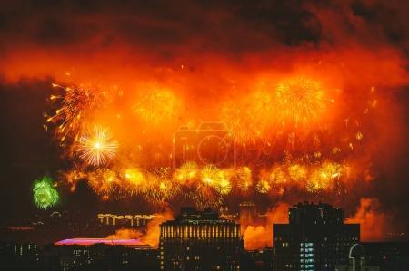 Fireworks over Moscow skyline