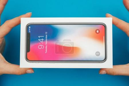 Unboxing a new Apple Iphone X flagship smartphone