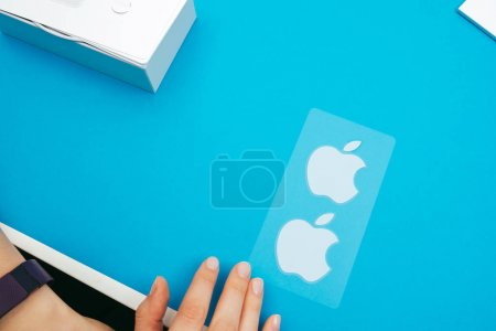 Apple stickers on blue background