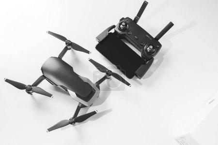 KAUNAS, LITHUANIA - MARCH 03, 2018: newest DJI Mavic Air drone on white background