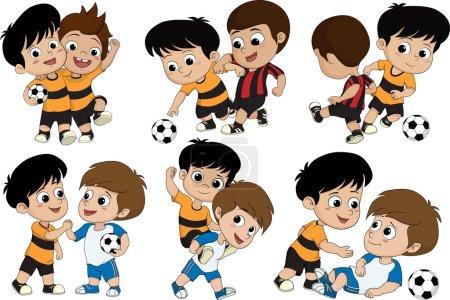 Illustration pour Ensemble de mignon enfant a joué au football avec friends.vector et illustration . - image libre de droit