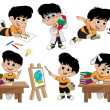 Back to school.A cute kid with different pose....
