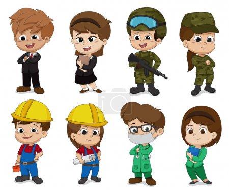 Illustration pour Enfant de différentes professions telles que les affaires, soldat, ingénieur, médecin . - image libre de droit