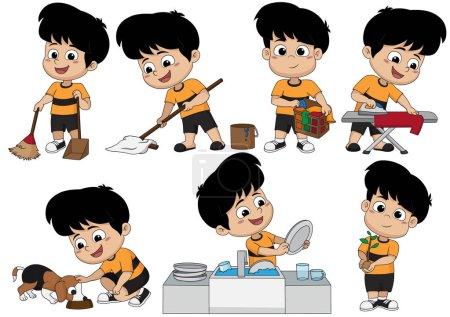Illustration pour Un jour, l'enfant aide les parents à faire beaucoup de choses telles que balayer, nettoyer, laver, repasser, nourrir le chien, laver la vaisselle et planter des arbres. . - image libre de droit