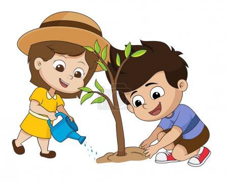 Illustration pour Gamin plantant un arbre.vecteur et illustration . - image libre de droit