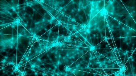 Photo pour Résumé Bitcoins Symboles Chaîne de blocs sur fond flou - image libre de droit