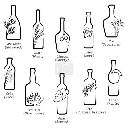 Conceptual icons of alcohol