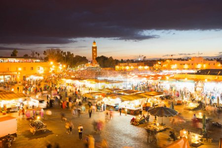 Djemaa el Fnaa, square and market place in Marrakesh medina quarter.