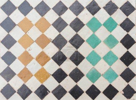 Photo pour Vieux plancher de céramique carreaux et colorated. Fond de texture. - image libre de droit