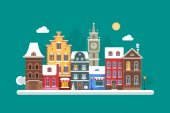 Europe winter street flat landscape with colorful european style houses and Christmas decorations Decorated europe christmas city background with old town building facades and xmas ornaments