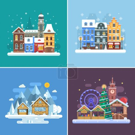 New Year and Winter Travel Backgrounds