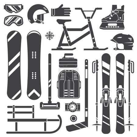 Winter Sport Equipment Silhouettes