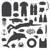 Snorkeling set of outline elements Snorkeler man silhouette with snorkel mask sea life objects and scuba accessories Skin diving icons Summer underwater activity appliances