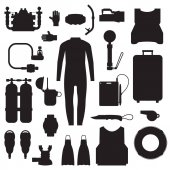 Scuba elements and snorkeling gear silhouette set Diving kit Scuba-diving vector icons in outline design Underwater activity accessories in black and white Wetsuit mask snorkel fins oxygen