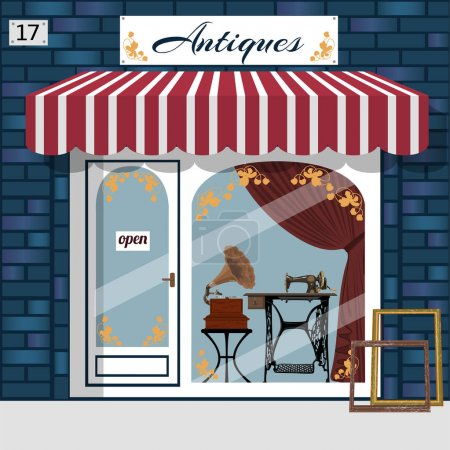 Illustration for Antique shop facade. Gramophone and sewing maching in the window. Blue brick building. Vector illustration. - Royalty Free Image