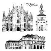 Milan sightseeing set Duomo di Milano Teatro alla Scala Sforza Castle Italy Vector hand drawn sketch