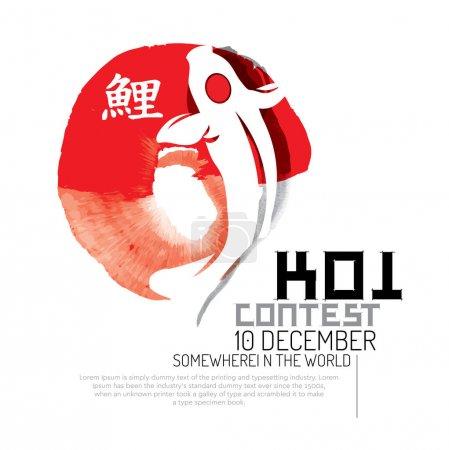 Koi fish modern logo vector illustration in decora...
