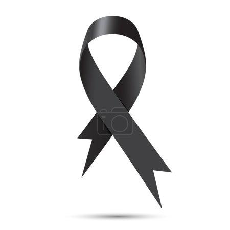 Illustration for Black awareness ribbon isolate on white background, Vector illustration - Royalty Free Image