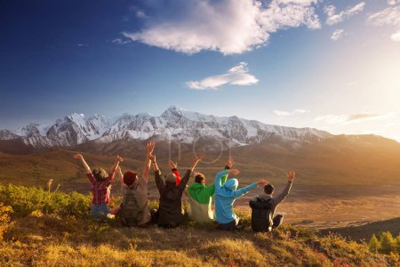 Photo for Group of six happy friends is having fun at mountain top - Royalty Free Image