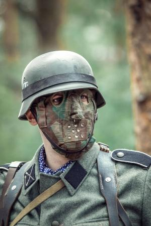German soldier wearing a mask.