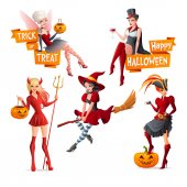 Beautiful women in Halloween costumes fairy with pumpkin vampire witch on broom pirate and devil Set of cartoon vector illustrations with text