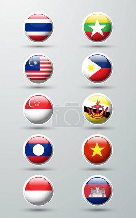 Asean Economic Community circle  flags
