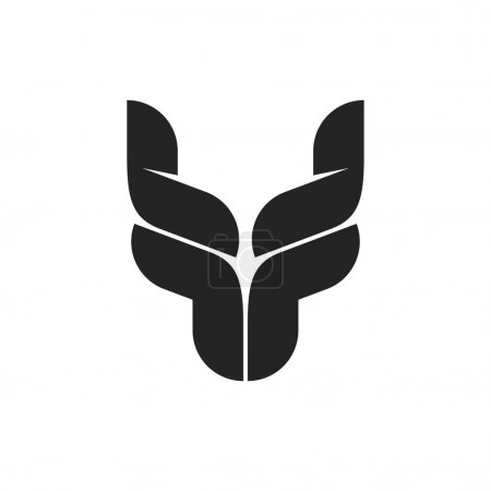 Bull head logo symbol, black bull horns emblem, ox head shape, breeding cattle logotype