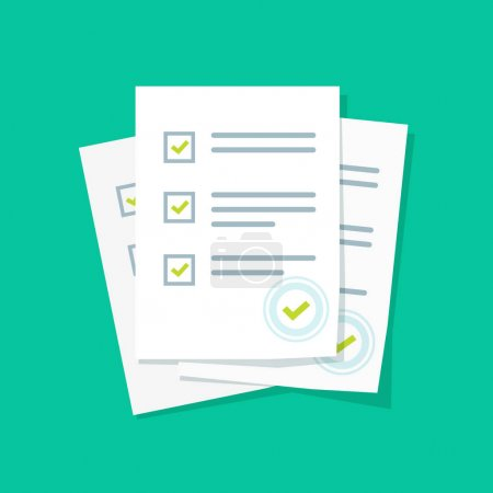 Illustration for Survey or exam form paper sheets pile with answered quiz checklist and success result assessment, idea of education test, questionnaire, document vector illustration flat style - Royalty Free Image