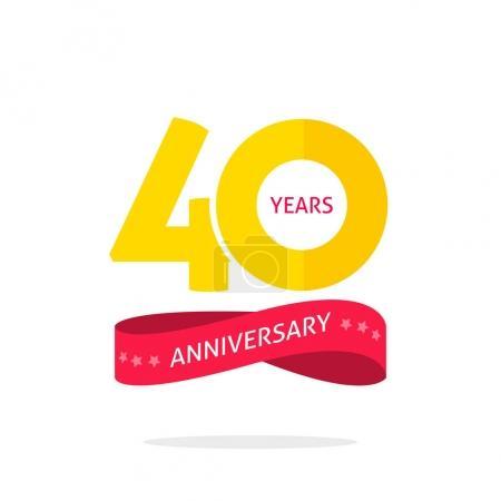 Illustration pour Modèle de logo anniversaire 40 ans isolé sur fond blanc, étiquette icône 40e anniversaire avec ruban, symbole anniversaire 40 ans isolé sur fond blanc - image libre de droit
