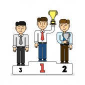 Three men on pedestal.