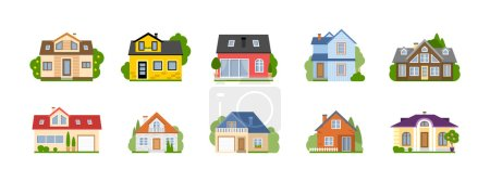Illustration for Isolated cartoon houses set. Simple suburban houses. Concept of real estate, property and ownership. - Royalty Free Image