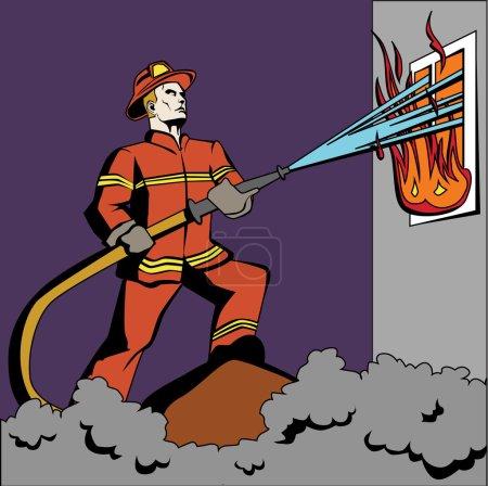 Illustration pour Pompier Pop Art. Pompier rétro en uniforme rouge et casque vaporisant de l'eau sur la flamme. Lutte contre l'incendie avec tuyau . - image libre de droit