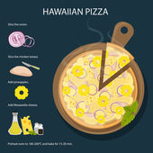Hawaiian pizza recipe Fresh and delicious pizza with ham pineapple and cheese Italian cuisine