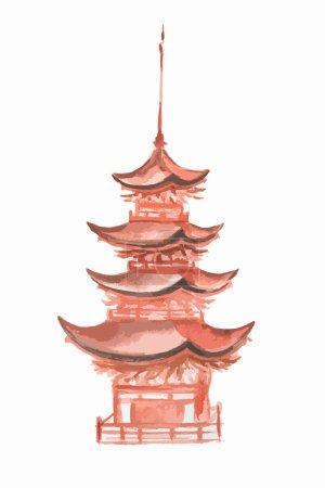 Watercolor asian tower.