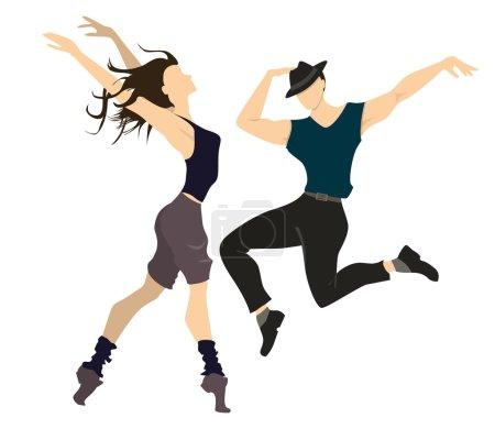 Illustration pour Danseurs professionnels isolés sur fond blanc. Danseurs masculins et féminins posant et faisant des mouvements . - image libre de droit