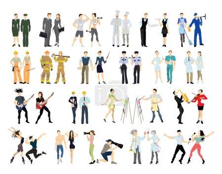 Photo pour Différentes professions définies. Personnages de bande dessinée isolés sur fond blanc. Toutes sortes d'activités professionnelles comme enseignant, médecin, pompier et plus . - image libre de droit